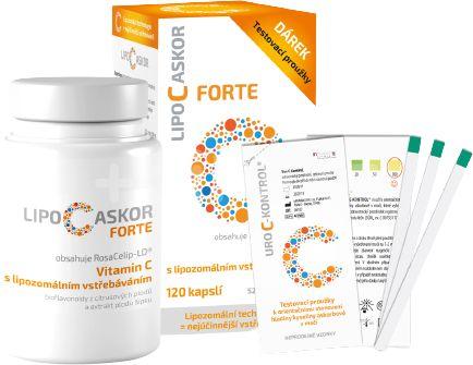 Lipo C Askor Forte 120 kapsúl + testovacie prúžky, vitamín C s lipozomálnym vstrebávaním 4ks